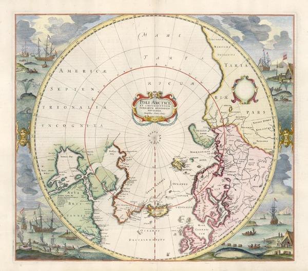 53-Northern Hemisphere, Polar Maps and Scandinavia Map By Henricus Hondius