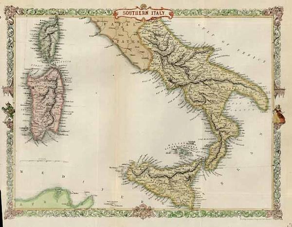 59-Europe, Italy, Mediterranean and Balearic Islands Map By John Tallis