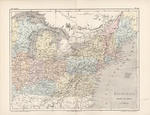 83-New England, Mid-Atlantic and Midwest Map By Adolphe Hippolyte Dufour