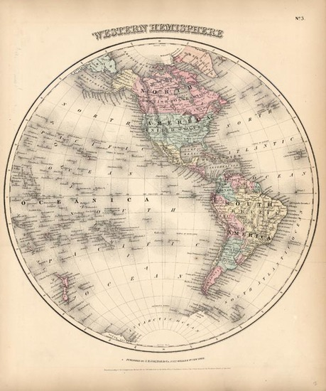 38-World, Western Hemisphere, South America and America Map By Joseph Hutchins Colton