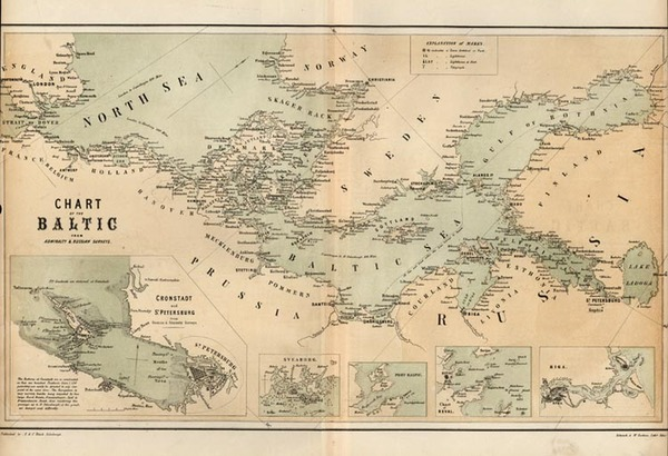 34-Europe, Europe, Russia, Baltic Countries and Scandinavia Map By Adam & Charles Black / Sche