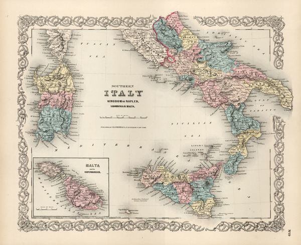 18-Europe, Italy, Mediterranean and Balearic Islands Map By Joseph Hutchins Colton