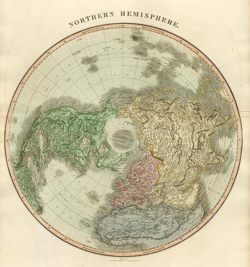 18-World, Northern Hemisphere, Polar Maps, Alaska and North America Map By John Thomson