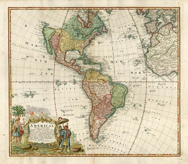 66-World, Western Hemisphere, South America and America Map By Homann Heirs