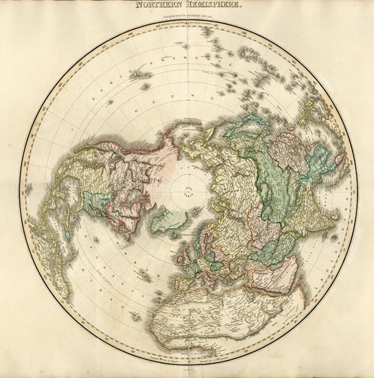 69-World, Northern Hemisphere, Polar Maps, Alaska and North America Map By John Pinkerton
