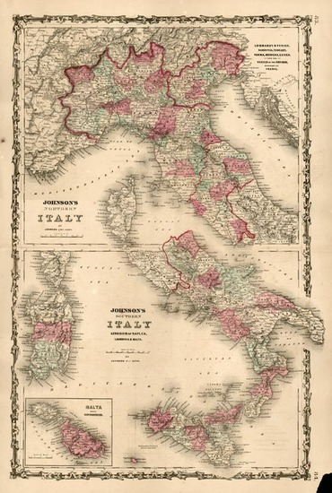 95-Europe, Italy and Balearic Islands Map By Benjamin P Ward  &  Alvin Jewett Johnson