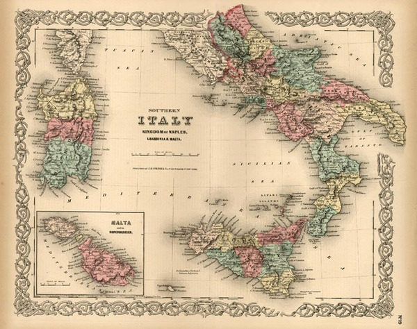 29-Europe, Italy, Mediterranean and Balearic Islands Map By Joseph Hutchins Colton