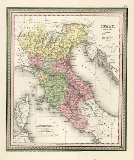 12-Europe and Italy Map By Thomas Cowperthwait & Co.