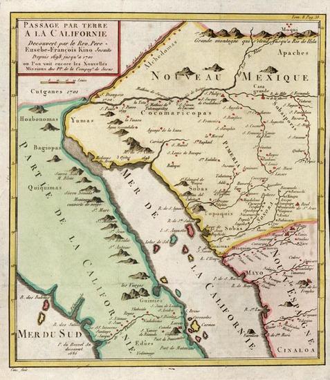 48-Southwest, Mexico, Baja California and California Map By Fr. Eusebio Kino