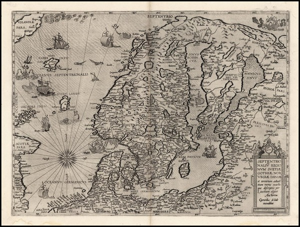 45-World, Atlantic Ocean, Europe, Russia, Baltic Countries and Scandinavia Map By Gerard de Jode