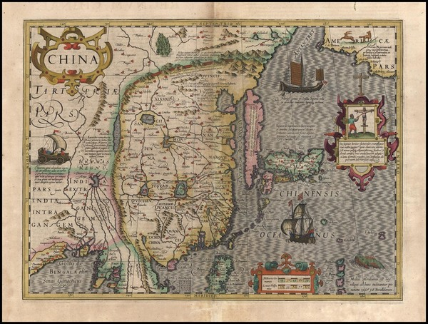 87-Asia, China, Japan and Korea Map By Jodocus Hondius - Gerhard Mercator