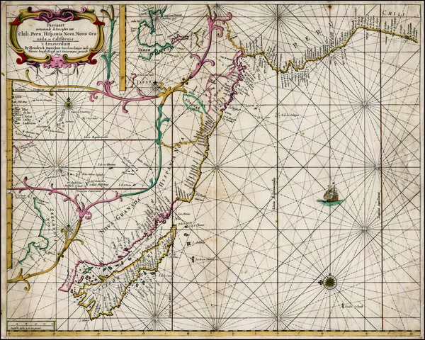 38-South America, New Zealand and California as an Island Map By Hendrick Doncker