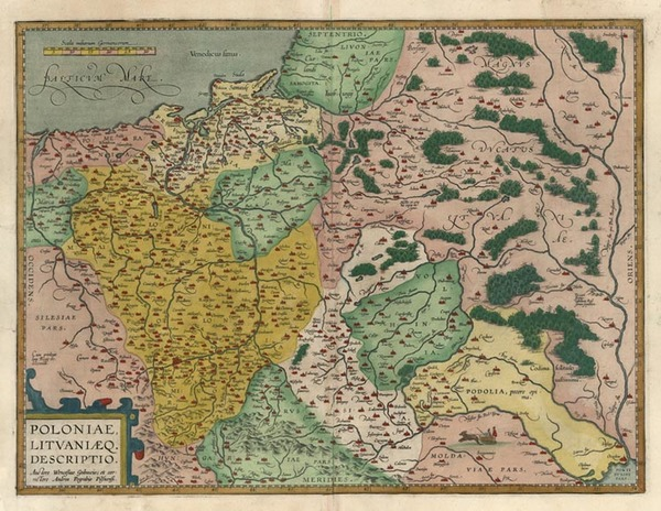 95-Europe, Germany, Poland, Russia and Baltic Countries Map By Abraham Ortelius