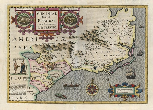 99-Mid-Atlantic and Southeast Map By Jodocus Hondius