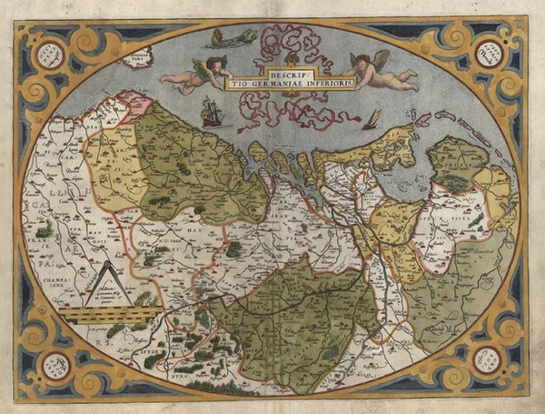 87-Europe, Netherlands and Germany Map By Abraham Ortelius