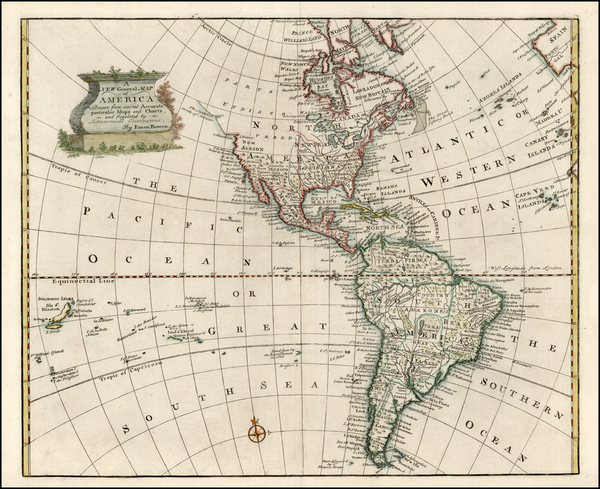 44-South America and America Map By Emanuel Bowen