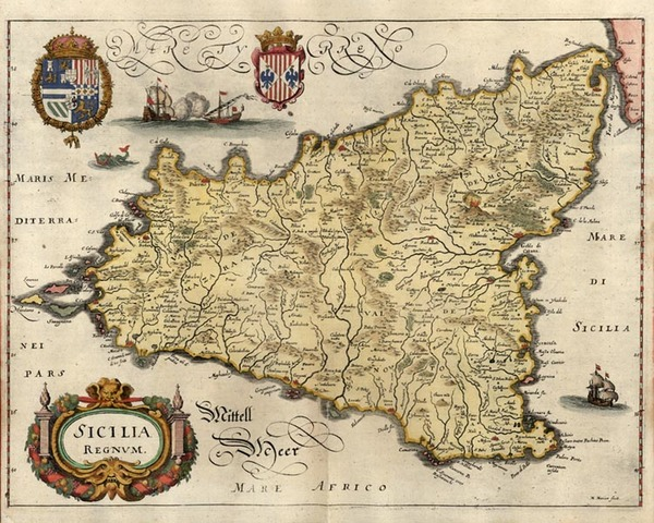 25-Europe, Italy, Mediterranean and Balearic Islands Map By Matthaeus Merian