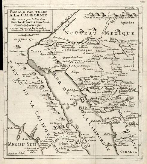 20-Southwest, Mexico, Baja California and California Map By Fr. Eusebio Kino / Inselin