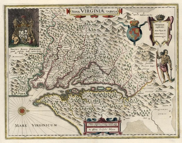 100-Mid-Atlantic and Southeast Map By Willem Janszoon Blaeu
