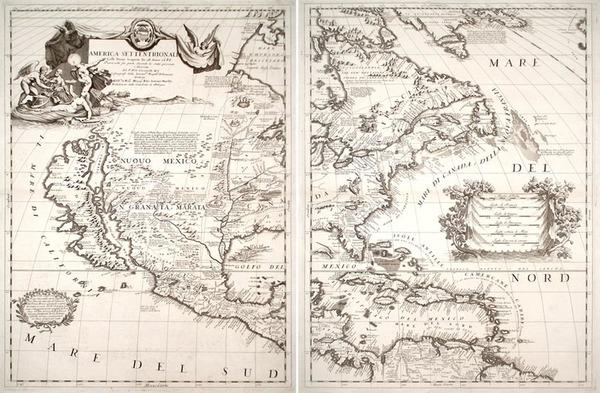 85-North America and California Map By Vincenzo Maria Coronelli