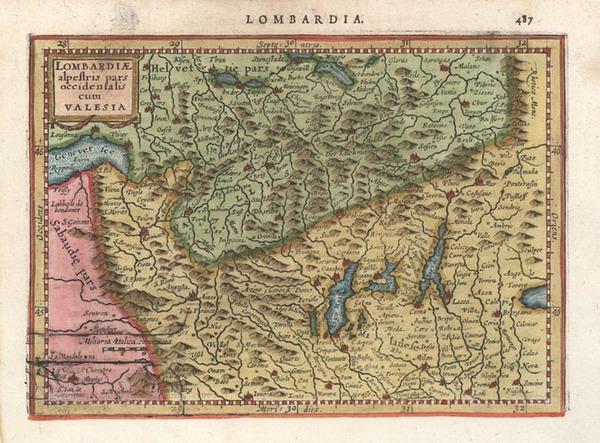 98-Europe, Switzerland and Italy Map By Henricus Hondius - Gerhard Mercator