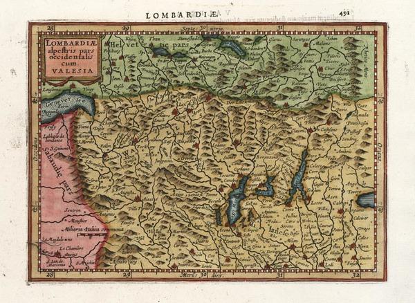 29-Europe, Switzerland and Italy Map By Henricus Hondius - Gerhard Mercator