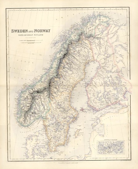 65-Europe, Russia and Scandinavia Map By Archibald Fullarton & Co.
