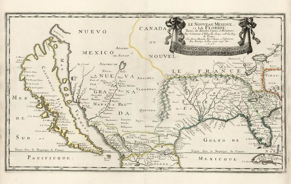 39-United States, Southeast, Southwest and California Map By Nicolas Sanson