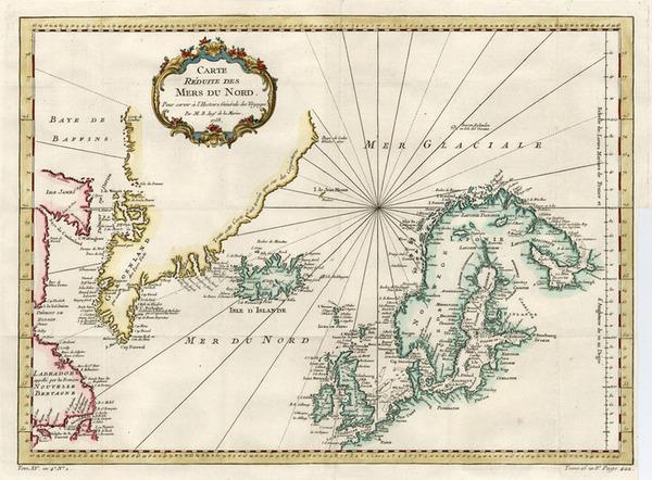 78-World, Atlantic Ocean, Europe, British Isles, Scandinavia and Balearic Islands Map By Jacques N