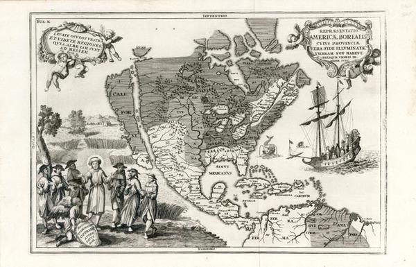 14-North America, Baja California and California Map By Heinrich Scherer