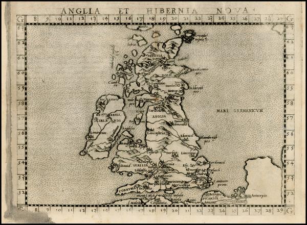 1-British Isles Map By Girolamo Ruscelli