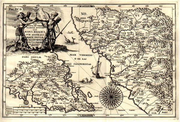 95-North America, Baja California and California Map By Heinrich Scherer