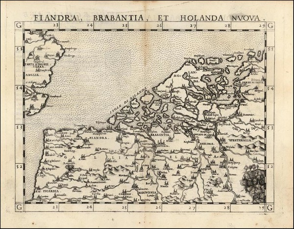 67-Europe and British Isles Map By Girolamo Ruscelli