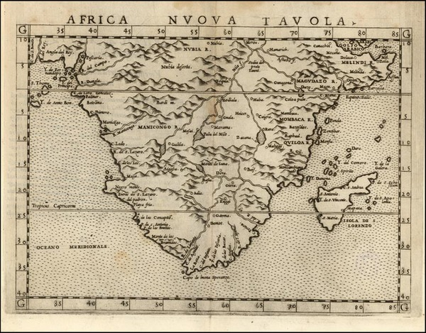 40-Africa and South Africa Map By Girolamo Ruscelli