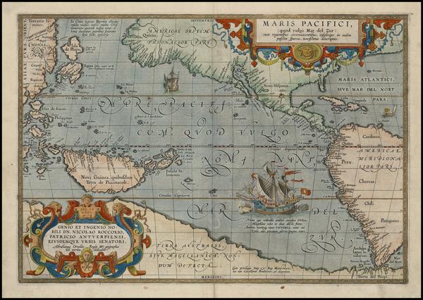 76-World, Western Hemisphere, Polar Maps, South America, Pacific and America Map By Abraham Orteli
