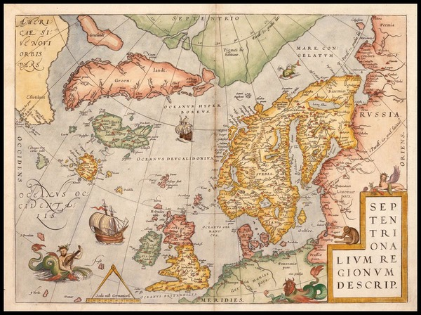 82-World, Atlantic Ocean, Europe, British Isles, Scandinavia and Balearic Islands Map By Abraham O