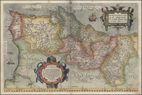 100-Portugal Map By Abraham Ortelius