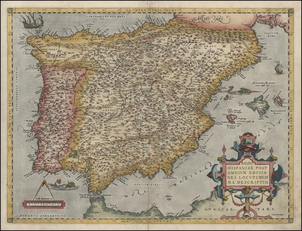 18-Europe, Spain and Portugal Map By Abraham Ortelius