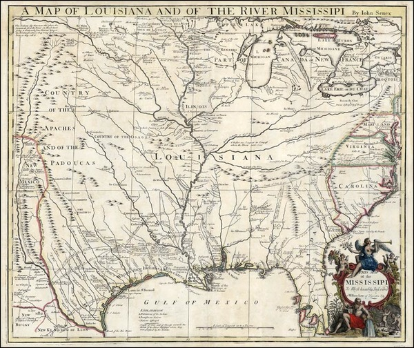 45-South, Texas, Midwest and Plains Map By John Senex