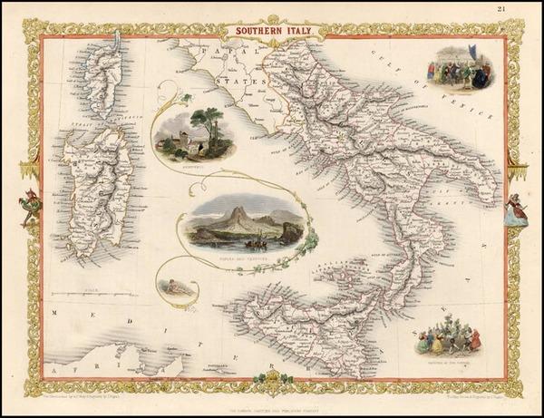 65-Europe, Italy, Mediterranean and Balearic Islands Map By John Tallis