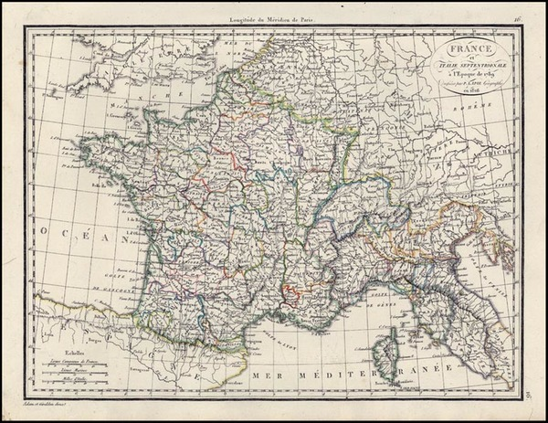 30-Europe, France and Italy Map By Alexandre Emile Lapie