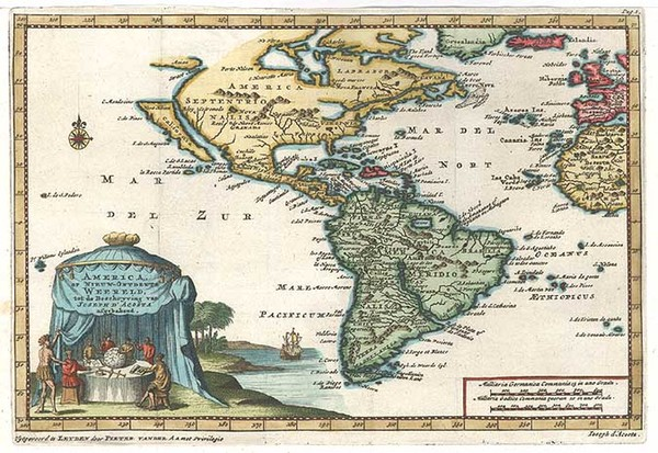 58-South America and America Map By Pieter van der Aa