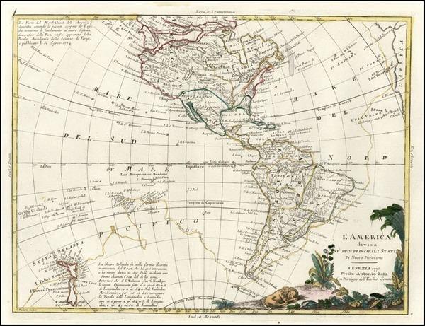 44-South America, Australia & Oceania, Oceania, New Zealand and America Map By Antonio Zatta