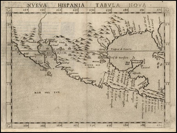 77-South, Southeast, Southwest and Mexico Map By Girolamo Ruscelli