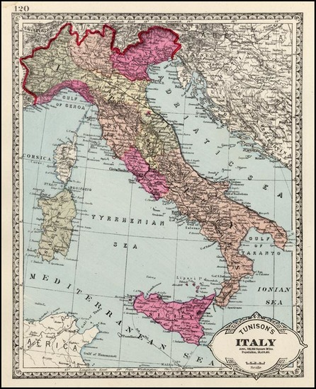 40-Europe and Italy Map By H.C. Tunison