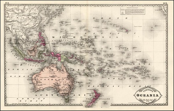 75-World, Australia & Oceania, Pacific, Oceania, Hawaii and Other Pacific Islands Map By H.C.