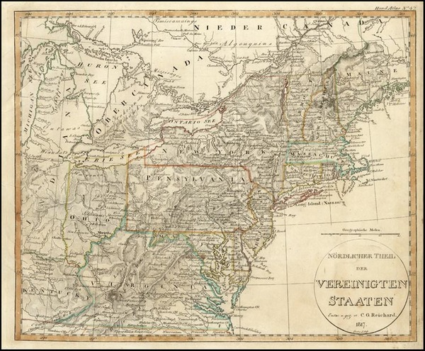 20-United States, Mid-Atlantic and Midwest Map By Adolf Stieler