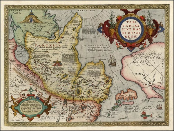 43-Asia, Japan, Central Asia & Caucasus and California Map By Abraham Ortelius