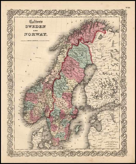 88-Europe and Scandinavia Map By Joseph Hutchins Colton