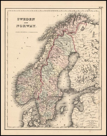 73-Europe and Scandinavia Map By Joseph Hutchins Colton